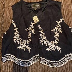 Express black embroidered vest